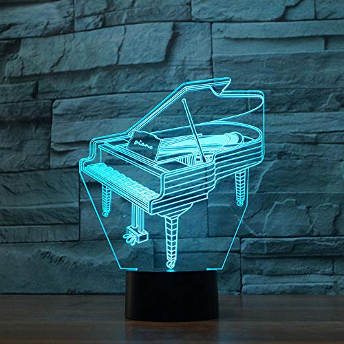 3D Night Light 7&16M Color s Change Piano Model LED Desk Table Lamp Art Home Child Bedroom Sleeping Decoration Holiday Party Gifts