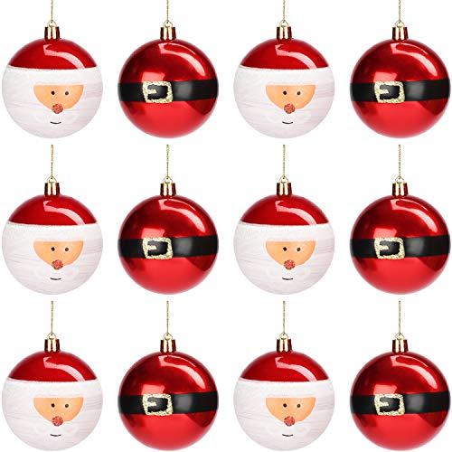 Belle Vous Palline Di Natale Decorazioni (12pz) - Palle di Natale Rosse Scintillanti da 8 cm con Cordino - Palline Natale da Appendere per Albero di Natale - Palline Albero di Natale Interno e Esterno