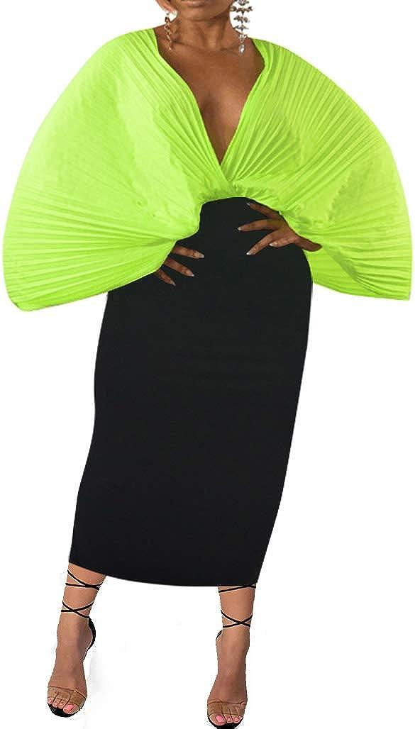Salimdy Bandage Dresses for Women Sexy Club Deep V Neck Elegant Mesh Bodycon Long Pencil Cocktail Party Sheath Dress Bright Green 2X-Large