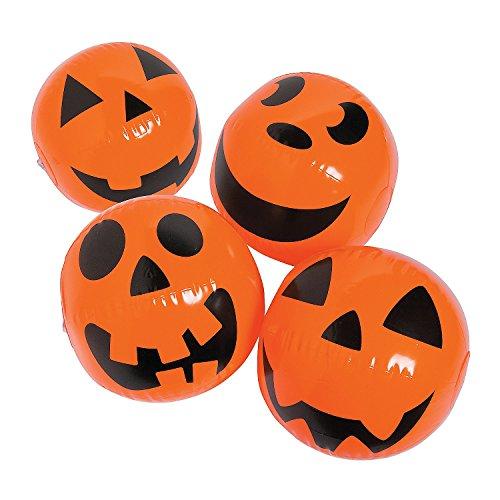 Halloween Jack O Lantern Pumkin Beach Balls (Set of 12) Halloween Toys and Trunk or Treat Party Supplies