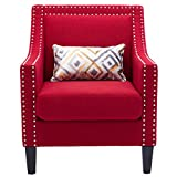 Fabric Arm Chair Upholstered Accent Chair Living Room Lounge Chair Elegant Club Chair with Rivet Design for Home/Office (Red)