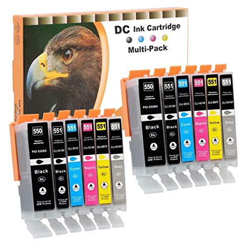D&C 12x Cartuchos de impresora compatibles para Canon PGI-550 XL CLI-551 XL para Canon Pixma iX6850 MG6350 MG6450 MG6650 MG7100 MG7150 MG7550 MX925 iP7200 iP7250 MG5400 MG5450 MG5550 MG5650 MG5655