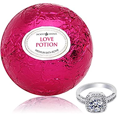 Bath Bomb with Size 6 Ring Inside Love Potion Extra Large 10 oz. Made in USA