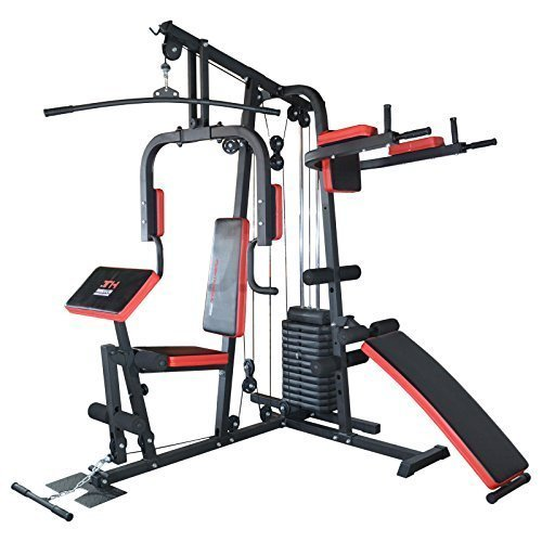 TrainHard® Kraftstation Multistation Fitnessstation Home Gym 65 kg Gewichten inkl. Dipstation Beinhebe, erweiterbar mit Sit Up Bank, Stepper, Push Up Bar, Boxsack mit Halterung, Speedball Plattform. (Kraftstation inkl. Dipstation, Beinhebe + Sit Up Bank)