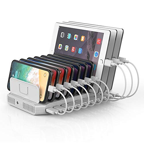 Unitek 10-Port USB Charging Station with QC Qualcomm Quick Charge for Multiple Devices, Smartphones, Tablets, Universal Charging Docking Stand Supports 5 iPads Charging Simultaneously