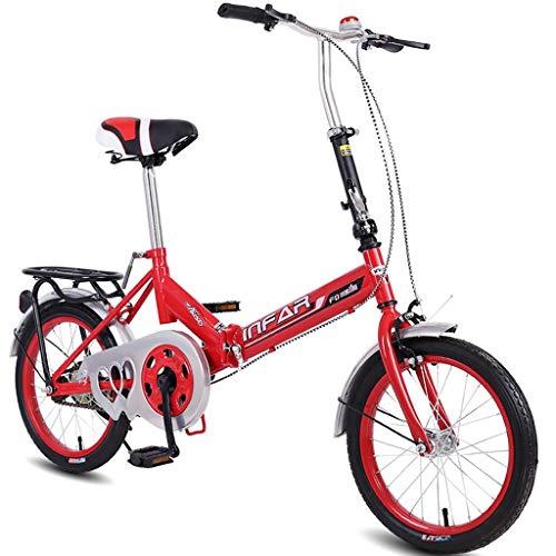 Xiaoping Kinderfahrräder 16 Zoll Kinder Single Speed Faltrad 5-8 Jahre alte Männer und Frauen bewegliches Fahrrad-Rot