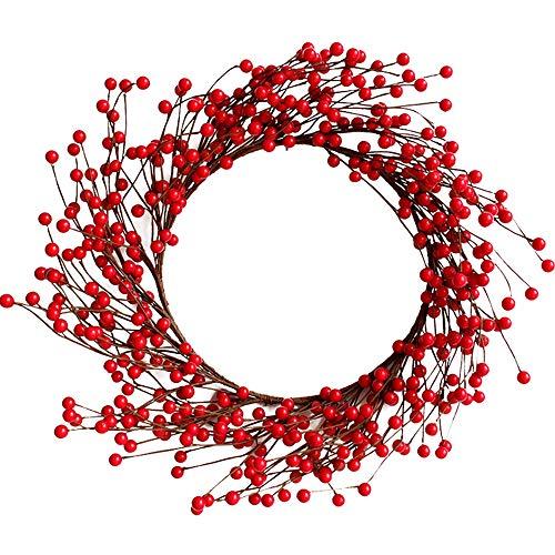 GYH Guirlande de Noël - décorations de Noël Rouge Berry Noël à la Main en Osier Couronne Murale Cadeau de Noël Floral 40cm / 50cm décoration /& (Taille : 50CM)