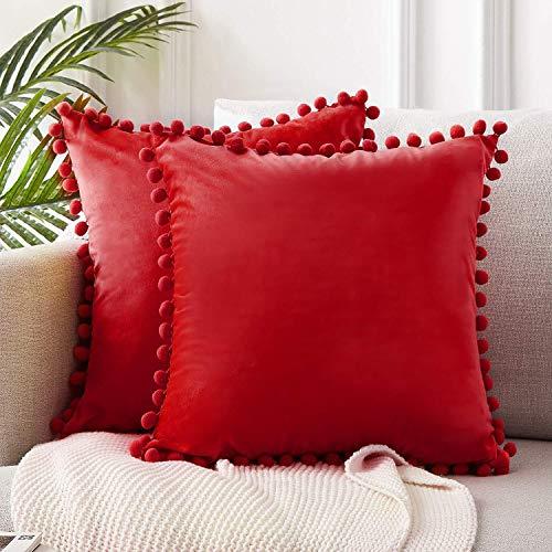 Pompon Kissenbezug einfarbig weich warm Samt Kissenbezug Schlafzimmer Sofa Dekoration Kissenbezug A2 45x45cm 1St