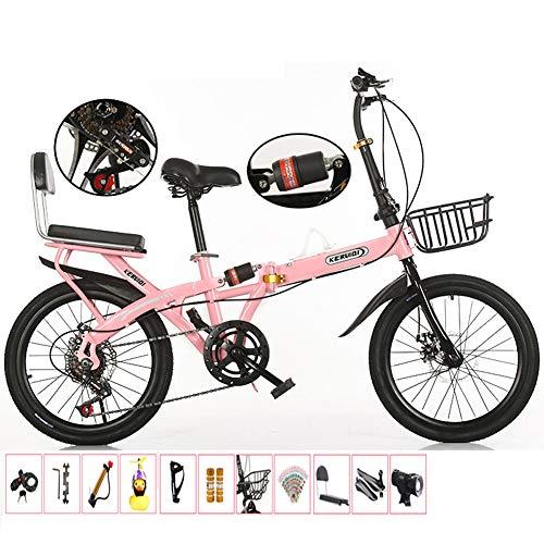 Speichenrad mit Variabler Geschwindigkeit, Klapprad für Damen, ultraleichtes tragbares Arbeitsrad für Männer mit doppelter Stoßdämpfung für Erwachsene,Rosa,20in