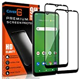 CoverON [2 Pack] Tempered Glass for Cricket Ovation Case/AT&T Radiant Max Phone Screen Protector, Anti-Scratch Edge to Edge Black Rim Coverage