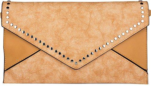 styleBREAKER Envelope Clutch im Kuvert Design mit Nieten, 2-Tone Washed Vintage Look, Abendtasche, Damen 02012172, Farbe:Curry