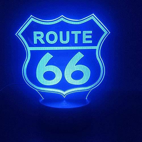 Lámpara de noche 3D3D de la ruta 66 Madre Carretera Sensor táctil para regalo de cumpleaños para decoración de habitaciones Efecto de luz visual LED lámpara de luz nocturna