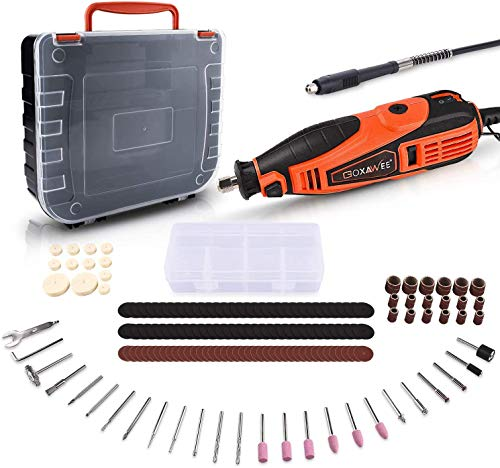 Rotary Tool, GOXAWEE 180W Multi-Functional Tool Kit with 181 Accessories (Flex Shaft & Cover Shield) 5 Variable Speed 8000-35000 RPM, Rotary Multi Tool for DIY Creations & Craft Projects