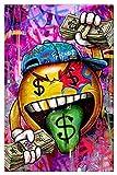 RHWXAX Hacer Dinero Obra de Arte Dólares de Graffiti Pinturas de la Lengua en Lienzo Arte de la Pared Pintura Imágenes para la Sala de Estar Moderna 20x28 Inch Sin Marco