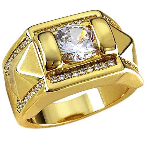 Ahappy -Garra ajuste Zircon Hip hop anillo de boda de los hombres anillo de compromiso R245