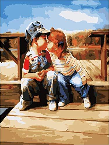 ZXlDXF Pintura al óleo por números – Primer beso para adultos pintura digital obras dibujadas por adultos niños y principiantes sobre lienzo preimpreso, 40 x 50 cm (sin marco)
