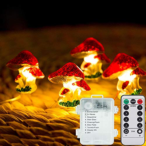 Linghuang 10ft 30 LED Mushroom Fairy Lights 8 Modes with Remote Control and Timer Function for Bedroom Wedding Dorm Garden Wedding Party Patio Fence Decor - Battery Operated