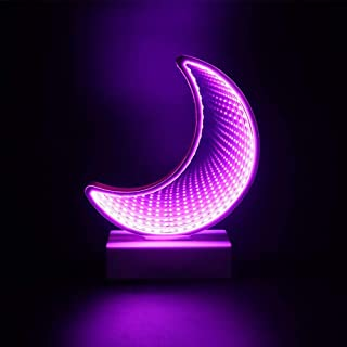 Tunnel Lamp 3D Infinity Mirror Light Decor Light LED Night Light Neon Lights Wall Table Lamp Battery Operated/USB Cable Decoration for Bedroom Party Christmas Kids Birthday Gift (Purple Moon)