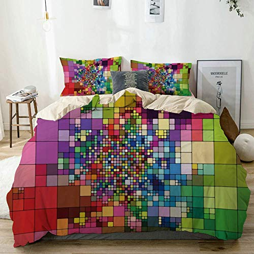 Yaoni Duvet Cover Full,Abstract Colorful Baroque Plaid Mosaic Geometry Modern Creative Design,100% Washed Microfiber 3pcs Bedding Set with 2 pillow shams,