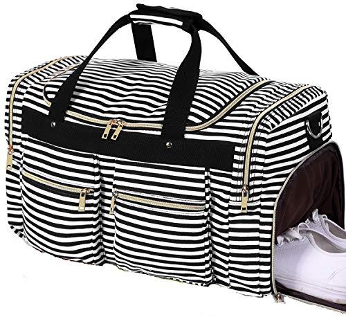 Weekender Overnight Duffel Bag Shoe Pocket for Women Men Weekend Travel Tote Carry On Bag (Stripe Black- 0.6cm)