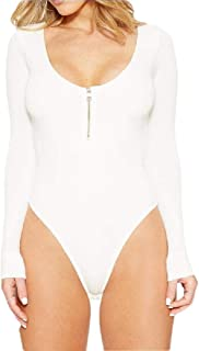 Women's Round Neck Zipper Long Sleeve Bodysuit Stretchy Leotard Top