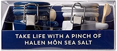 Halen Mon Anglesey Sea Salt Mini Clamp Top Jar Set includes Sea Salt and Cracked Black Pepper