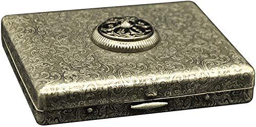 XIAOXIA Funda creativa para cigarrillos, de metal, de latón, portátil, para cigarrillos, puede contener 20 cigarrillos (tamaño 9,4 x 8 x 1,8)