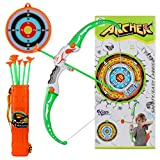 Goldboy Bow and Arrow for Kids, Kids Archery Set with 8 Suction Cups Arrows, Target, and Quiver - Bow Arrow Toys for Boys and Girls Above 6 Years of Age, White and Green