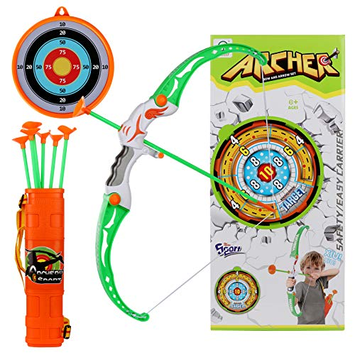 Goldboy Bow and Arrow for Kids, Beginner Archery Set with 8 Suction Cups Arrows, Target, and Quiver - Practice Training Bow Toys for Boys and Girls Above 6 Years of Age, White and Green