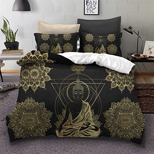 MIUNNG Retro Misterioso Oriental Buda Estatua Funda Nórdica Budismo Cultura Zen Creativo Mandala Negro Dorado Imprimiendo Ropa de Cama Apto para Dormitorio (Buda#3, 240×220cm-Cama 150cm)