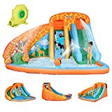 Outsunny Giraffe Style Kids Inflatable Water Slide 4 in 1 Inflatable Bouncer House Slide Pool Gun Climbing Wall with Air Blower for Summer Playland
