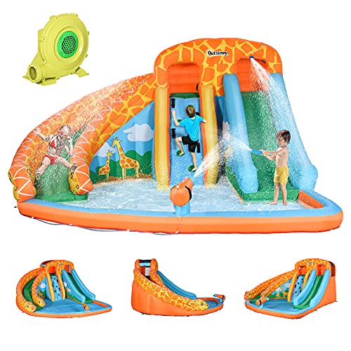 Outsunny Giraffe Style Kids Inflatable Water Slide 4 in 1 Inflatable Bouncer House Slide Pool Gun...