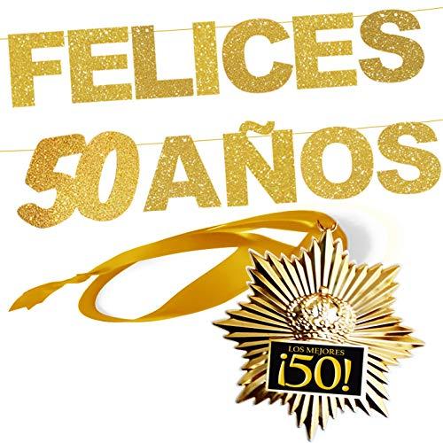 Inedit Festa Felices 50 AÑOS 50 Aniversario Medalla Honorífica y Guirnalda Felices 50 Años