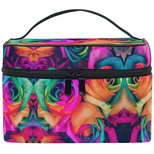 Trousse de Maquillage Rainbow Flower Rose Travel Cosmetic Bags Organizer Train Case Toiletry Make Up Pouch