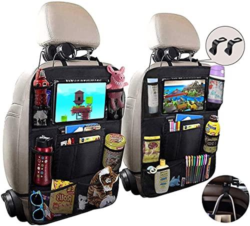 Rosei - Organizador para asiento trasero de coche, con compartimento para tableta, repele la suciedad, muchos bolsillos, organizador para coche con pantalla táctil de 10 pulgadas (D)