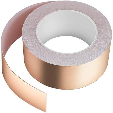 Vegena Cinta Adhesiva de Cobre, 30mm x 50m Cinta de Cobre Hoja, para Blindaje EMI y RF, Circuitos de Papel, Reparaciones eléctricas, Conexión a ...
