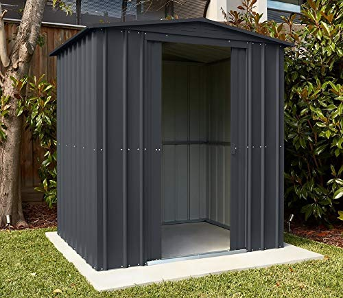 Lotus Anthracite Grey Metal Apex Roof Shed 6 x 5, 6x5