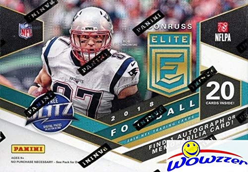 2018 Panini Donruss Elite Football Factory Sealed Retail Box with AUTOGRAH or MEMORABILIA Card & (7) EXCLUSIVE GREEN PARALLELS! Look for RC & Autos of Baker Mayfield, Saquon Barkley & More WOWZZER!