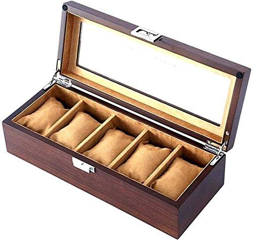 HJ Caja de reloj Cajas de joyería Mujer Hombre Regalo Viaje Techo corredizo de madera Hogar Escritorio Retro Pantalla Caja de...