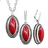 CLEARNICE Conjunto de Pendientes de Collar Retro de Piedra roja de rombo de Doble Capa para Mujer joyería de Moda chapada en Plata Antigua Longitud 70Cm