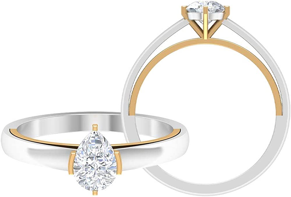 Mixed Metal Wedding Ring, Pear Shape Engagement Ring, D-VSSI 3/4 CT 5X7 MM Solitaire Moissanite Ring, Unique Anniversary Ring, Gift for Women, 14K Gold