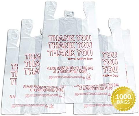 Reli Thank You T Shirt Bags 1000 Count Plastic Bulk Shopping Bags Restaurant Bag T Shirt Plastic product image