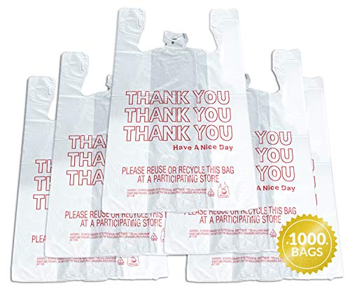 "Reli. Thank You T-Shirt Bags (1000 Count), Plastic - Bulk Shopping Bags, Restaurant Bag - T-Shirt Plastic Bags in Bulk - (11.5"" x 6.5"" x 21"") White/Thank You"