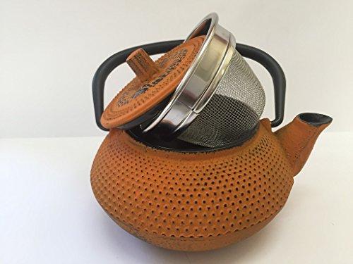 Tetera de hierro colado con filtro - capacidad 0.3 litros y color naranja - teteras para vitroceramica, inducción y gas – tetera de metal pequeña tamaño individual para infusión y té