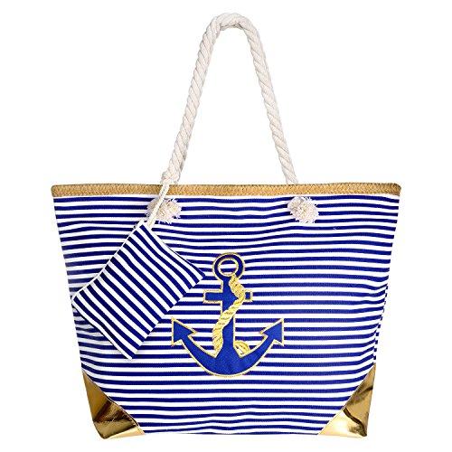 Comius Bandolera Verano Mujer 2019, PU Bolsa de Playa Grande con Cremallera, Bolso de Mujer Shopper Bolsa Totalizadores del Recorrido (55 x 39 x 11cm) (Blue Stripes)