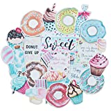 Navy Peony Delightful Sweets and Pastry Stickers (25 Pack) - Cute, Waterproof and Durable | Fun Food-Themed Decals for Journals, Craft, Scrapbook