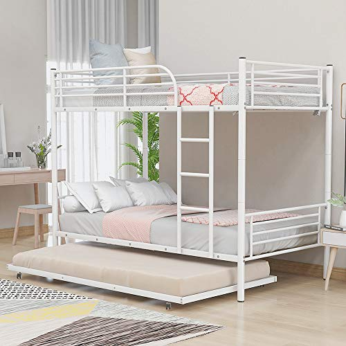 Bunk Beds with Trundle, Rockjame Twin Over Twin Metal Bunk Bed Frame with Ladders and Safety Guard Rails, Convertible to 2 Separated Twin Beds, Perfect for Kids and Young Teens (White)