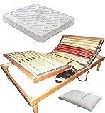 SARDAMATERASSI Juego de cama de 1 plaza y media, somier de láminas eléctrico ortopédico con soporte para cabeza y pies + colchón Memory de 20 cm + almohada de espuma viscoelástica