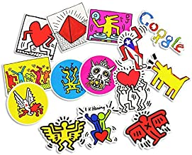 Gift for world - 14Pcs/Lot Cartoon Funny Keith Haring Stickers For Decal Snowboard Laptop Luggage Car Fridge Car- Styling Sticker Pegatina Bike