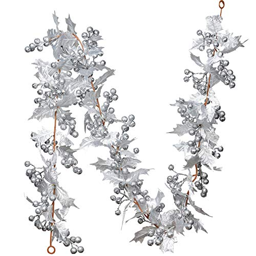DearHouse 6FT Berry Christmas Garland, Flexible Artificial Berry Garland for Indoor Outdoor Home Fireplace Decoration for Winter Christmas Holiday New Year Decor (Silver Garland)